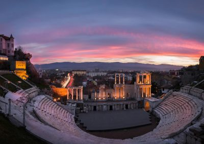 Remainings of Ancient Roman theatre in Plovdiv at sunset